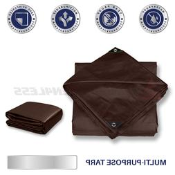 Brown Heavy Duty 16 mil Tarp Reinforced Resistant Cover Tent