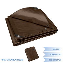 Brown Heavy Duty Multi-purpose Waterproof Poly Tarp Cover Te