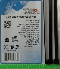 "Cable Zip Ties 500pcs Heavy Duty 120lb 18"" UV Resistant Blac"