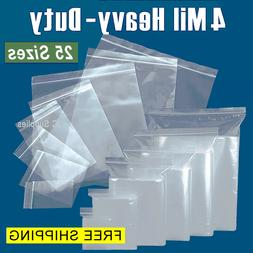 Assorted Clear 4-Mil Ziplock Bags HEAVY-DUTY Reclosable Plas