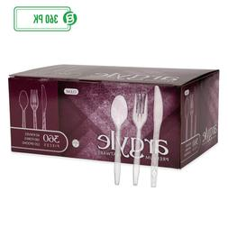 Clear Plastic Cutlery   Heavy Duty & Solid Disposable Silver