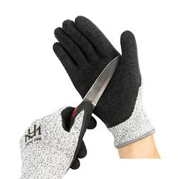 Cut Resistant Level 5 Work Gloves, Textured Latex Coated Nyl