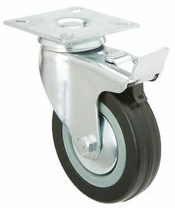Steelex D3501 Black Rubber Caster with Double Brake 4-Inch