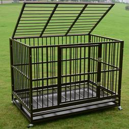 """Dog Crate 37""""/42""""/48"""" Heavy Duty Cage Pet Kennel Playpen Exe"""