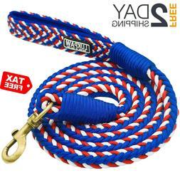 Dog Leash Heavy Duty Rope 6 Feet Nylon Leash W/ Padded Handl