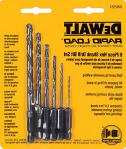 """Dewalt Drill Bit Set 6 Pc, Split Pt 1/16 """", 1/4 """", 1/8 """", 3/"""
