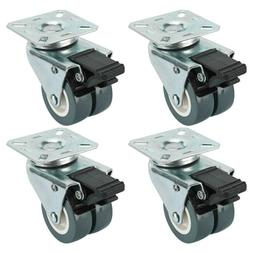 Dual Wheel Heavy Duty Swivel Plate Locking Casters 551 LBs,