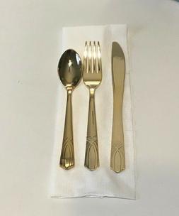 Elegant Disposable Plastic Gold Silverware Heavy Duty Set Bu