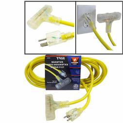 Extension Cord | 50ft 3 Plug Lighted 12/3 Gauge Indoor Outdo