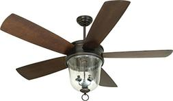 Outdoor Ceiling Fan with Light and Remote, Craftmade FB60OBG