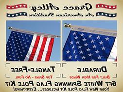 Flag Pole Kit: Includes Tangle Free Flagpole - Flag Pole Bra