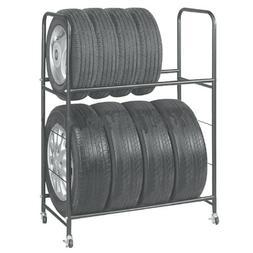 Garage Shelving Rolling Tire Storage Rack – Heavy-Duty Met