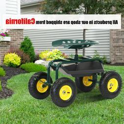 Garden Cart Rolling Work Seat with Tool Tray Heavy Duty Gard