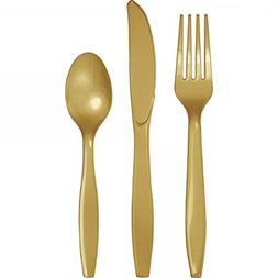 Glittering Gold Plastic Cutlery Assortment, Premium
