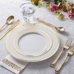 Gold Plastic Cutlery Set Elegant Plate Premium Heavy Duty We