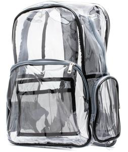 Gray Black clear backpack with pencil case - heavy duty, str