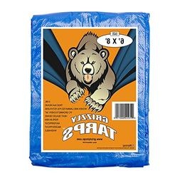 Grizzly Tarps 6 x 8 Feet Blue Multi Purpose Waterproof Poly