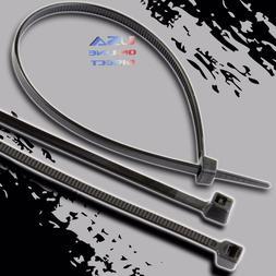 """Heavy Duty 100 piece 12"""" Black Nylon Cable Zip Ties 60lb Wir"""