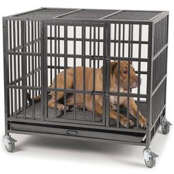"""Heavy Duty 37""""/48"""" Dog Crate Large Kennel Cage Metal Pet Pla"""