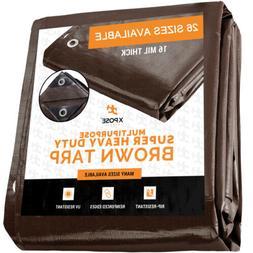 Super Heavy Duty All Purpose Brown Poly Tarp 16 Mil Waterpro