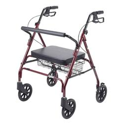 Drive Heavy Duty Bariatric Red 4-Wheel Rollator Walker with