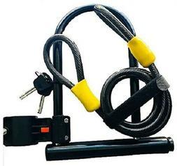 Heavy Duty Bike U Lock with Cable, Bicycle U-Lock with stron