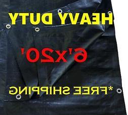 6 Ft. X 20 Ft. Heavy Duty 6 Oz. BLACK Poly Tarp 11-12 Mil Th