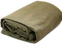 Heavy Duty Canvas Tarp Tarpaulin Cotton Olive 18 oz Water Re