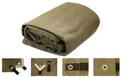 Canvas Tarp 8x10 | Heavy Duty 18 oz Olive Drab Waterproof, M