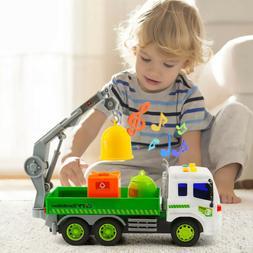 Heavy Duty City Sanitation Lorry Trucks+3 Trash Cans Lights&