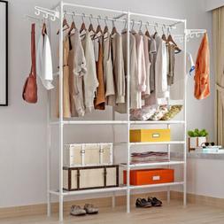 Heavy Duty Double Rod Freestanding Closet Storage Organizer