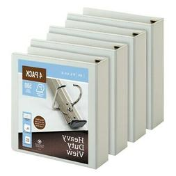 "Office Depot Heavy-Duty D-Ring View Binders, 2"" Rings, White"