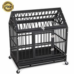 Heavy Duty Dog Cage Strong Folding Metal Crate Kennel Plaype