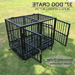 37'' Dog Crate Kennel Heavy Duty Pet Portable Cage w/Metal T