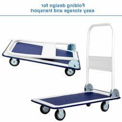 Heavy Duty Folding Warehouse Push Cart Dolly Platform Hand T