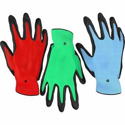 Heavy Duty Gardening Gloves for Men and Women - 3 Pack - Blu