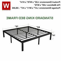 Heavy Duty King  Steel Bed Frame Metal Platform Beds - Heigh