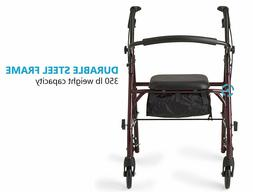 Heavy Duty Medical Bariatric Walker Rollator Large Wide Seat