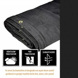 Heavy Duty Mesh Tarp Multipurpose Black Protective Cover wit