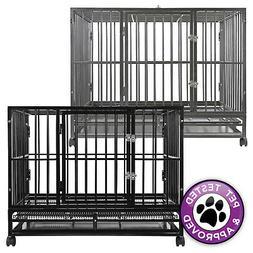 Heavy-Duty Metal Dog Crate Cage - Indoor Outdoor Kennel Pen