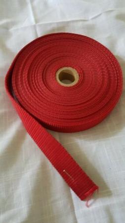 "Heavy Duty Nylon Polypropylene Red 1"" webbing partial spool"