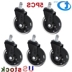 "5x 3"" Heavy Duty Office Chair Caster Wheels Swivel Rubber Wo"
