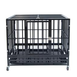 """37"""" Heavy Duty Pet Dog Cage Strong Metal Crate Kennel Plaype"""