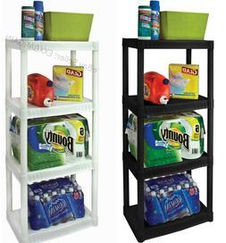 Heavy Duty Plastic Plano Shelf Storage  Home Office 4 Shelvi