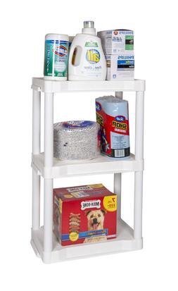 Heavy Duty Plastic Plano Shelf Storage  Home Office 3 Shelvi
