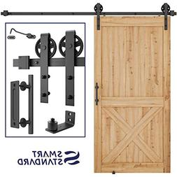 8ft Heavy Duty Sliding Barn Door Hardware Kit, 8ft Single Ra