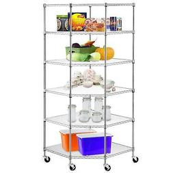 Heavy Duty Steel 6-Tier Corner Restaurant Shelf Commercial F