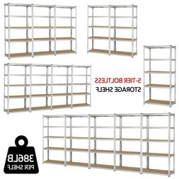 "Heavy Duty Steel 71"" 5 Level Garage Shelf Metal Storage Adju"