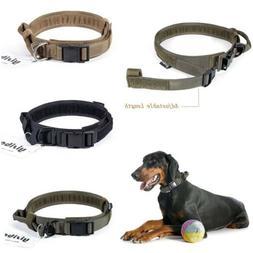 HEAVY DUTY Tactical Adjustable Nylon Dog Collar w/ Strong Ha