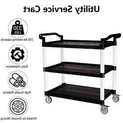 Heavy Duty Utility Service Cart 3 Shelf Push Hand Truck Roll